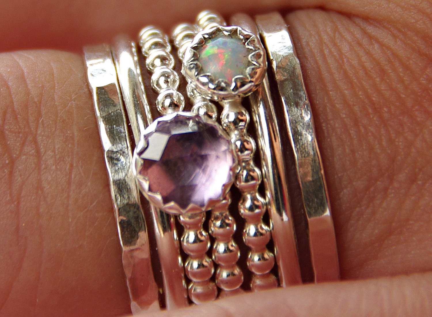 Mothers Birthstone Ring Amethyst