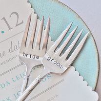 Bride & Groom - Vintage Wedding Cake Fork Set Personalized with Your Wedding Date by jessicaNdesigns on Etsy