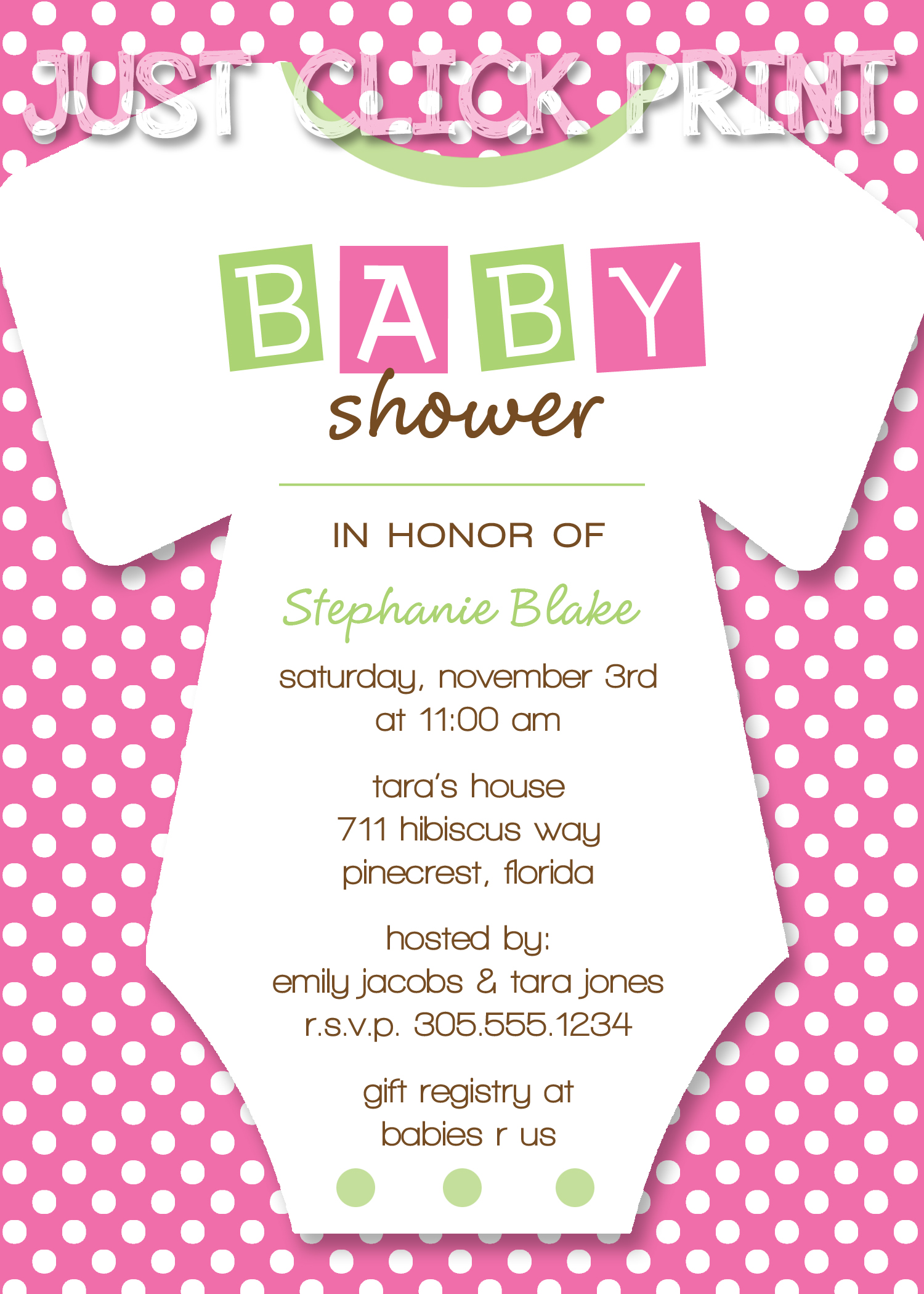 Onesies Baby Shower Invitation Printable Any Color Just