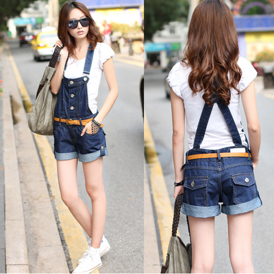 Dark Denim Shorts Overalls