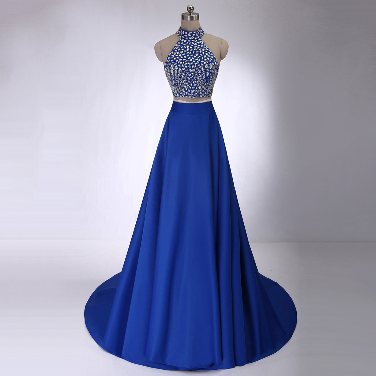 Crystal Beaded High Neck Prom Dresses  Royal Blue Crop Top Prom     Crystal beaded high neck prom dresses royal blue crop top prom dress with allover  beaded bodice