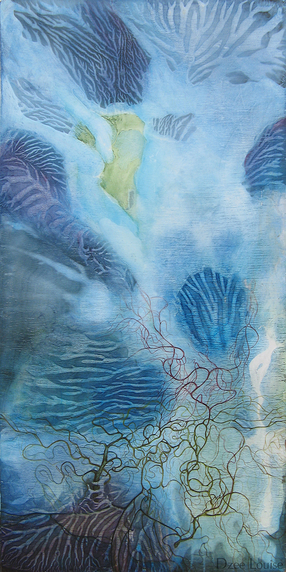 Water (A little bird told me) - acrylic and watercolour on wood panel - 12x24 inches