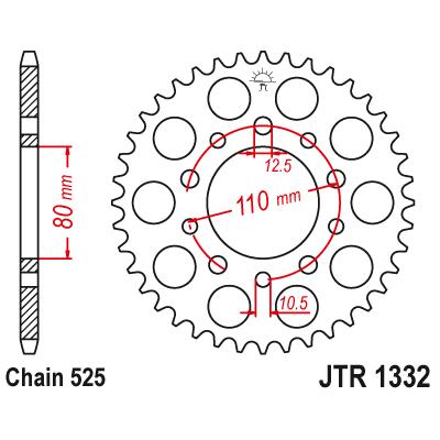 Звездочка ведомая JT JTR1332.44 зубьев 44 стальная