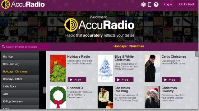AccuRadio Holidays Selection