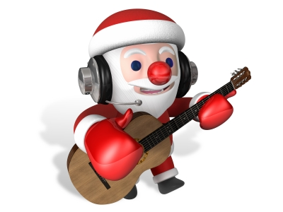 3d Santa Playing Classical Guitar With Headphone