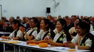 大眾把握機會發問,掌聲、笑聲不斷,展縣人間佛教活潑歡喜的一面