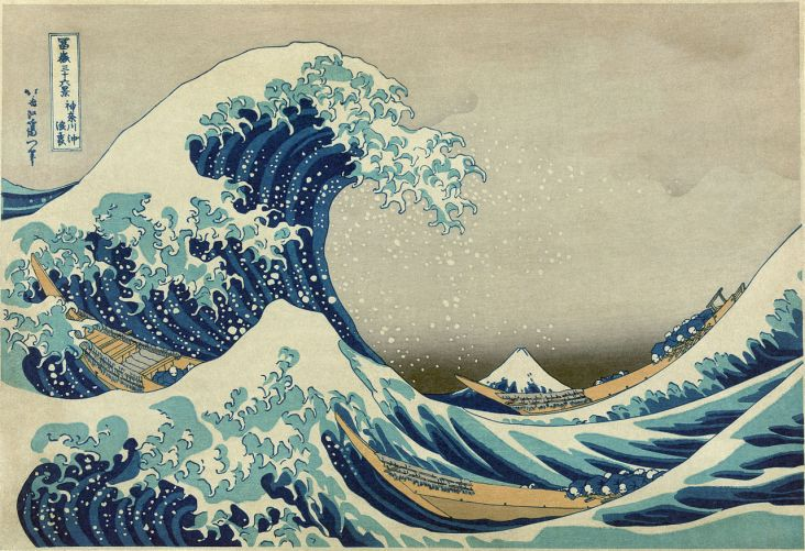 By Katsushika Hokusai (葛飾北斎) - Restored version of File:Great Wave off Kanagawa.jpg (rotated and cropped, dirt, stains, and smudges removed. Creases corrected. Histogram adjusted and color balanced.), Public Domain, https://commons.wikimedia.org/w/index.php?curid=5576388