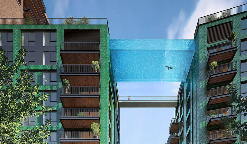 Glass bottomed sky pool at Nine Elms in London - 02