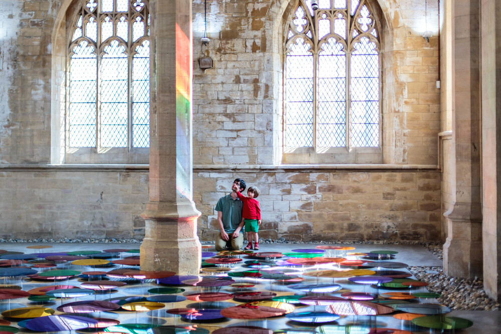 Reflective multi-coloured pool installation at St. John Church in North Lincolnshire - 04