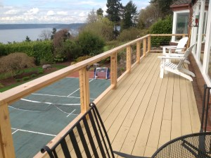 Cableing for a deck overlooking a sports court