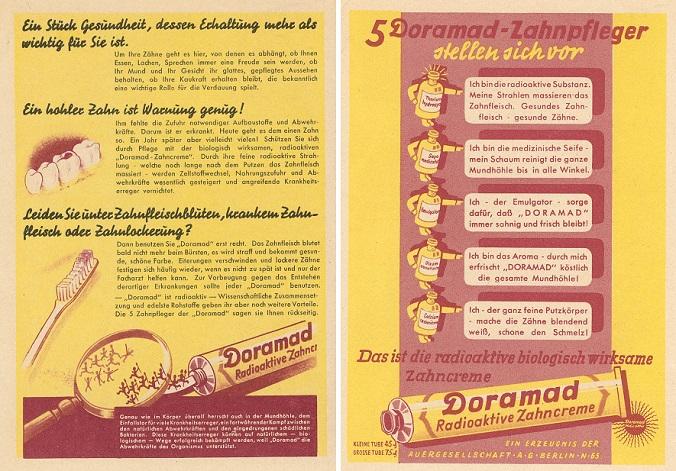 Niemiecka Pasta do zębów Dromad-reklama http://dziwowisko.pl/promieniowanie-radioaktywne-produkty/