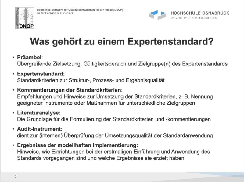 DNQP: Was gehört zu einem Expertenstandard