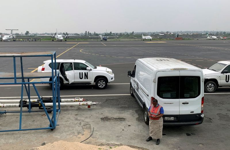A van carrying the bodies of Italian ambassador to Democratic Republic of Congo Luca Attanasio and his bodyguard is seen at the Goma airport