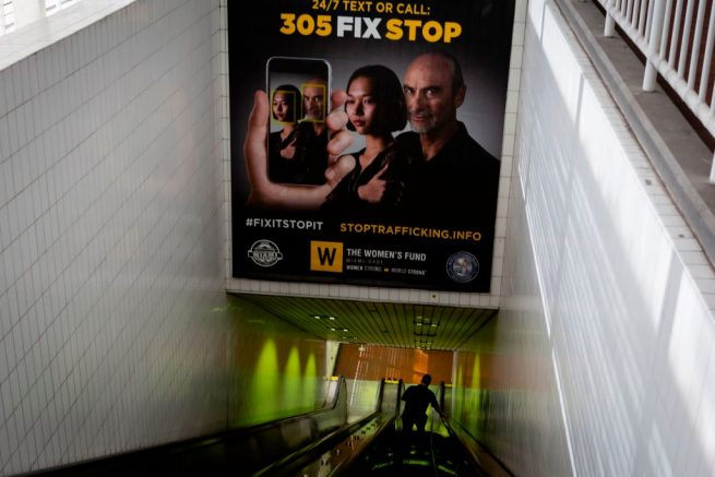 Billboards displaying a campaign against human trafficking are seen at Knight Center Metrorail station in Downtown Miami on January 9, 2020. - Every year, the American football season ends with the vast spectacle of the Super Bowl, drawing in celebrity superstars, hugely expensive advertising and 100 million viewers.<br /> But the sporting mega-event also has a darker side: a spike in human trafficking, in particular a rise in sexual exploitation. This year, Miami will host the Super Bowl on February 2, but the party city in southern Florida -- already the state with the third highest rate of human trafficking in the country, after California and Texas -- worries that the combination of the huge sport event in proximity to its world-famous beaches and clubs will create a perfect storm of sex trafficking. (Photo by Eva Marie UZCATEGUI / AFP) (Photo by EVA MARIE UZCATEGUI/AFP via Getty Images)