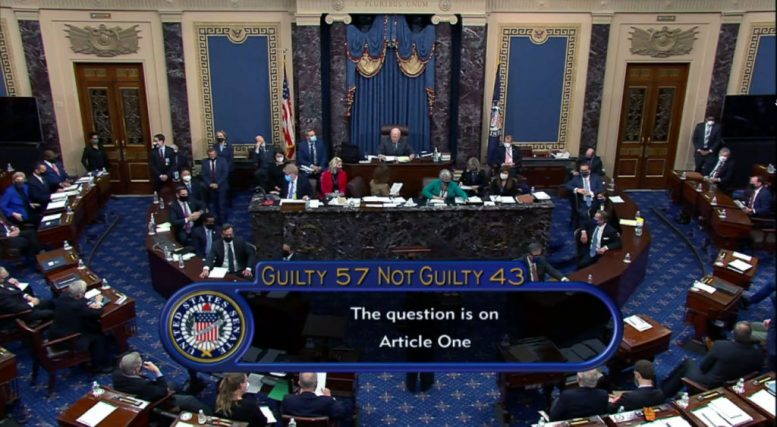 """WASHINGTON, DC - FEBRUARY 13: In this screenshot taken from a congress.gov webcast, Senate votes 57-43 to acquit on the fifth day of former President Donald Trump's second impeachment trial at the U.S. Capitol on February 13, 2021 in Washington, DC. House impeachment managers had argued that Trump was """"singularly responsible"""" for the January 6th attack at the U.S. Capitol and he should be convicted and barred from ever holding public office again. (Photo by congress.gov via Getty Images)"""