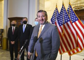 Sen. Ted Cruz, R-Texas, and other members of the Republican Conference talk to reporters following a luncheon on Capitol Hill in Washington, Wednesday, March 24, 2021. (AP Photo/J. Scott Applewhite)