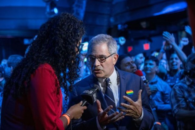 NEW YORK, NY - JUNE 25:  Philadelphia District Attorney Larry Krasner speaks to a reporter at of the election party of public defender Tiffany Caban moments before she claimed victory in the in the Queens District Attorney Democratic Primary election, June 25, 2019 in the Queens borough of New York City. Running on a progressive platform that includes decriminalizing sex work and closing the Rikers Island jail, Caban narrowly defeated Queens Borough President Melinda Katz and scored a shocking victory for city's the progressive grassroots network and criminal justice movement.  (Photo by Scott Heins/Getty Images)