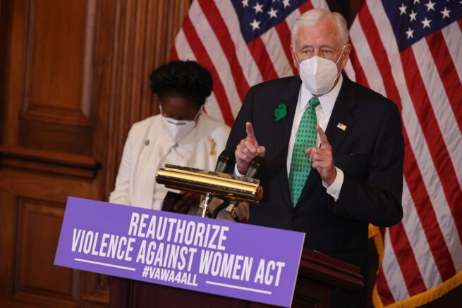 WASHINGTON, DC - MARCH 17: House Majority Leader Steny Hoyer (D-MD) (R) joins Rep. Shelia Jackson Lee (D-TX) during a news conference about the renewal of the Violence Against Women Act in the Rayburn Room at the U.S. Capitol on March 17, 2021 in Washington, DC. The House of Representatives is set to vote on reauthorizing the act. (Photo by Chip Somodevilla/Getty Images)