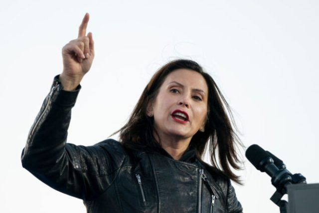 DETROIT, MI - OCTOBER 31: Gov. Gretchen Whitmer speaks during a drive-in campaign rally with Democratic presidential nominee Joe Biden and former President Barack Obama at Belle Isle on October 31, 2020 in Detroit, Michigan. Biden is campaigning with Obama on Saturday in Michigan, a battleground state that President Donald Trump narrowly won in 2016. (Photo by Drew Angerer/Getty Images)