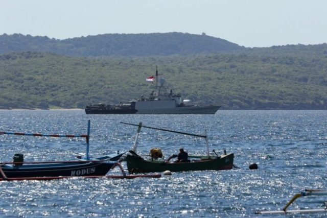 Indonesian navy ships arrive at the naval base in Banyuwangi on April 22, 2021, to join in the search for a decades-old navy submarine that went missing off the coast of Bali with 53 crew aboard during regular exercises. (Photo by - / AFP) (Photo by -/AFP via Getty Images)