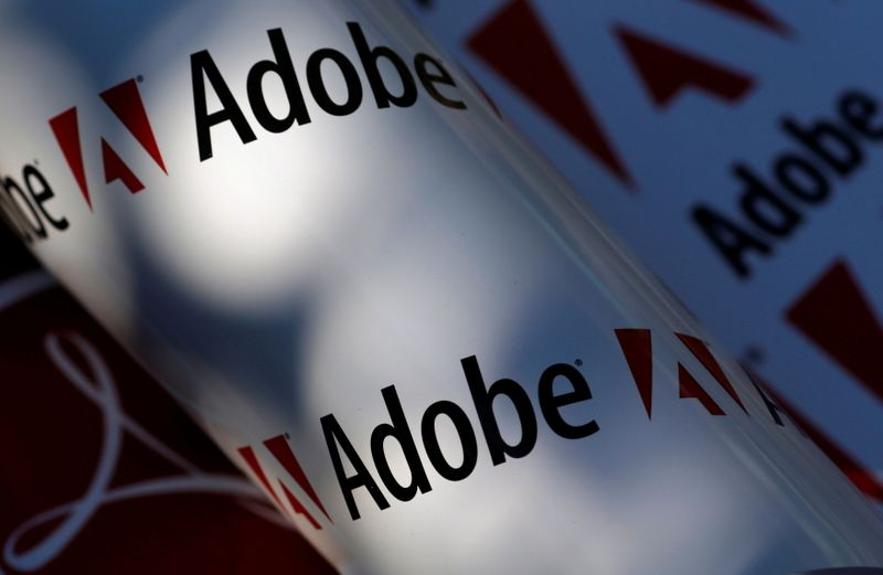 FILE PHOTO: Picture illustration shows Adobe company logos, in Vienna