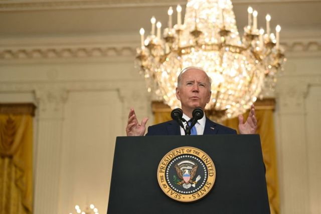 US President Joe Biden speaks about the economy and the middle class, in the East Room of the White House in Washington, DC, on September 16, 2021. (Photo by Brendan SMIALOWSKI / AFP) (Photo by BRENDAN SMIALOWSKI/AFP via Getty Images)
