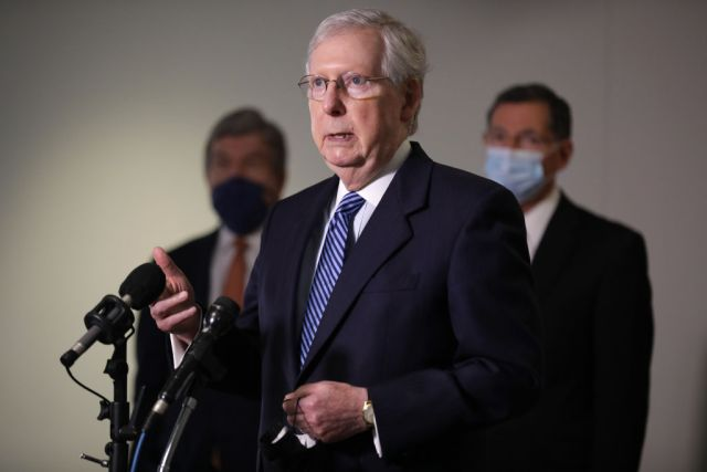 WASHINGTON, DC - SEPTEMBER 15: U.S. Senate Majority Leader Mitch McConnell (R-KY) talks to reporters following the weekly Republican policy luncheon in the Hart Senate Office Building on Capitol Hill September 15, 2020 in Washington, DC. House Speaker Nancy Pelosi (D-CA) told Democratic members of the House that they would not break before the November elections unless Congress funded an additional round of stimulus to aid the economy during the novel coronavirus pandemic. (Photo by Chip Somodevilla/Getty Images)