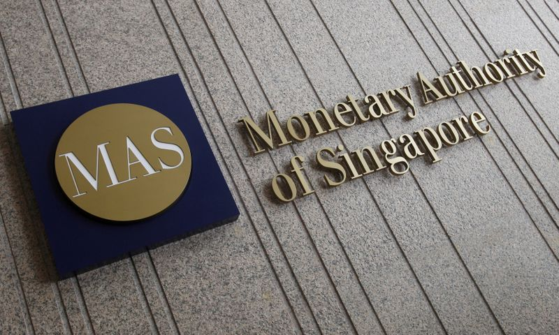 FILE PHOTO: File photo of the logo of the Monetary Authority of Singapore at its building in Singapore