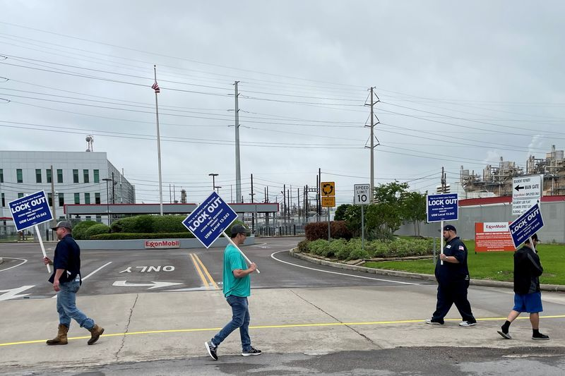 FILE PHOTO: Exxon Mobil begins lockout of workers from Texas plant