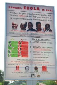 Ebola kampagne plakat. Foto: Tacugama Chimpanzee Sanctuary
