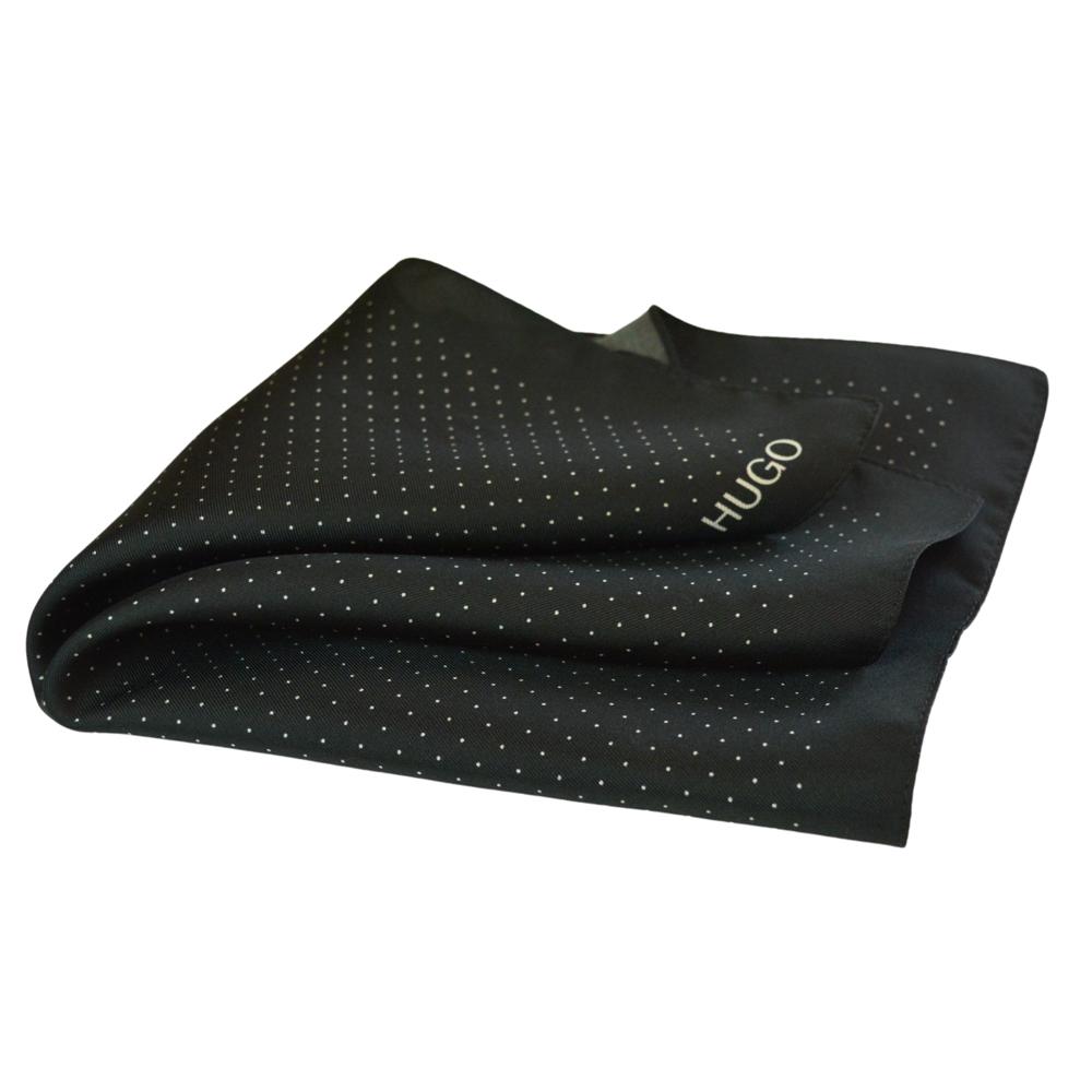 Μεταξωτό μαντηλάκι Hugo Boss μαύρο πουά
