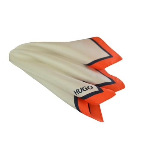 Μεταξωτό μαντηλάκι Hugo Boss λευκό με κόκκινο-μπλε