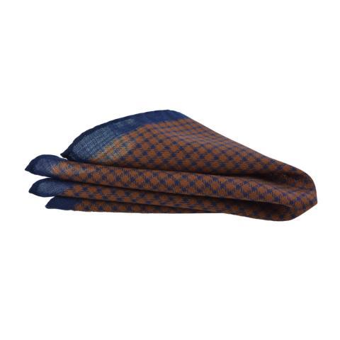 Μάλλινο Μαντήλι-Ποσέτ καρό μπλε με πορτοκαλί