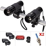 E-Goal Bike Light Set Front and Back (2pcs Cree Q5 LED Head Lights, 2 Hand Bar Flashlight Holders, Tail Rear Light and 2 Wheel Valve Lights As Gifts) Zoomable Twin Front Torch up to 500 Lumen by E-Goal -