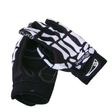 Fahrrad Skelett Muster Voll Finger warmen Radsport Handschuhe schwarz + weiß (XL) -