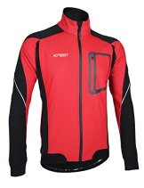 iCreat Herren Jacke Air Jacket Winddichte Lauf- Fahrradjacke MTB Mountainbike Jacket Visible reflektierend, Fleece Warm Jacket für Herbst, ROT Gr.L -