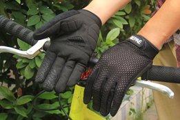 Lerway Anti-Rutsch Outdoor Hände Handschuhe Breath Weich Vollfinger MTB Handschuh Fahrradhandschuhe für Radfahren,Fahrrad Sports (Schwarz, L) -