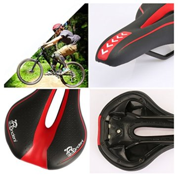 Onlydni Fahrradsattel MTB Gel Sattel Mountainbike Sattel City Tourensattel Trekking Rennrad Sattel Schwarz mit Rot -