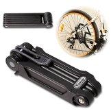 TONYON Fahrradschloss Faltschloss Kombinationsschloss Fahrrad Motorrad mit Rahmenhalterung Schwarz - DLYK1 165mm*65mm*48mm -