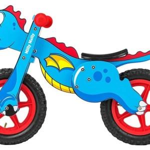 Milly Mally loopfiets Wooden Dino 12 Inch Junior Blauw