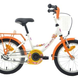 Bike Fun Lollipop 16 Inch 22 cm Meisjes Terugtraprem Wit/Oranje