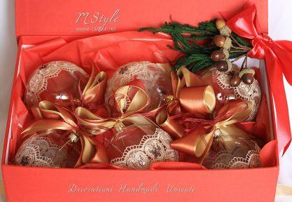 Glob Crăciun sticlă dantelă fină, 10 cm 4