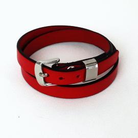 Brăţara piele naturală roşie, inox