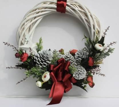 Coroniță Crăciun albă 30/35 cm