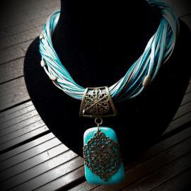 Colier pandantiv mare turquoise
