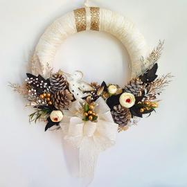 "Coroniță decor ""White Golden Christmas"" 35 cm"