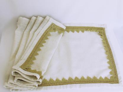 Decor pentru față de masă ivoire cu auriu