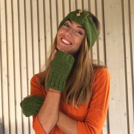 Bentiță verde lână 24,5 cm