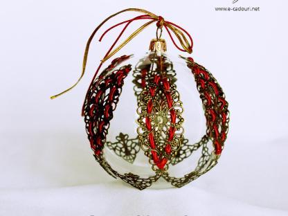 Glob Crăciun cu metal filigranat, sticlă, 10 cm
