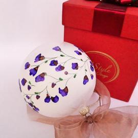 Glob alb cu flori mov sticlă 10 cm in cutie
